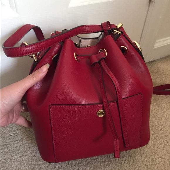 054914984ef03a Michael Kors Bags | Greenwich Small Bucket Bag Cherry | Poshmark